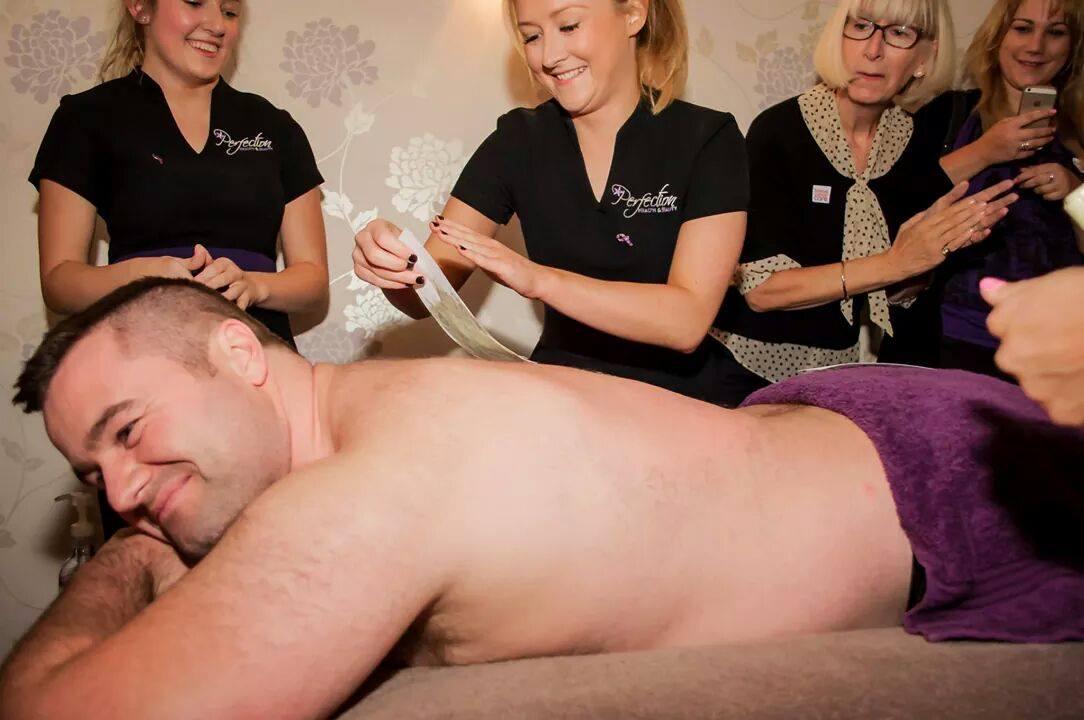 Jamie Phillips endures the Charity Wax!